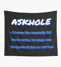 ASKHOLE BLUE Wall Tapestry