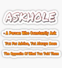 ASKHOLE ORANGE Sticker