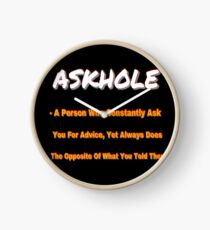 ASKHOLE ORANGE Clock