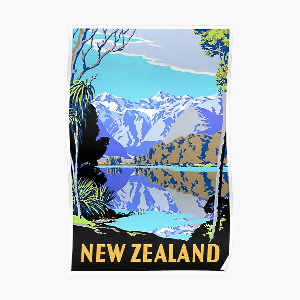 New Zealand Lake Matheson Vintage Travel Poster Poster