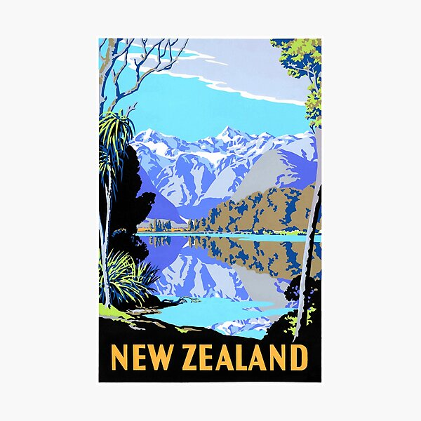New Zealand Lake Matheson Vintage Travel Poster Photographic Print