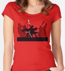 Kylo Ren and Rey vs. Snoke's Praetorian Guard Women's Fitted Scoop T-Shirt