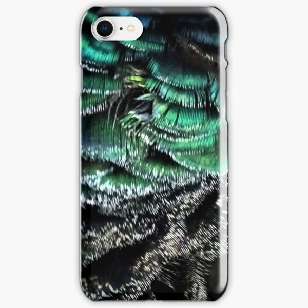 Peahen feather print deep green iPhone Snap Case
