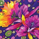 Whimsical Colorful Floral Print by CrazyCraftLady