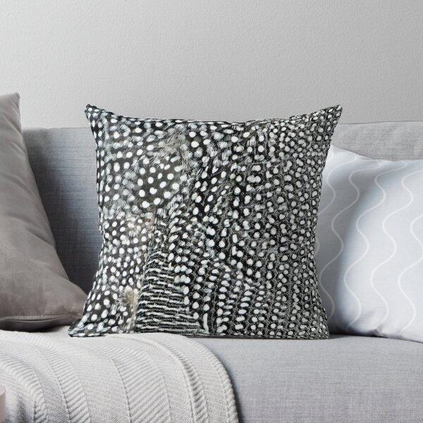 Guinea monochrome feather animal print Throw Pillow