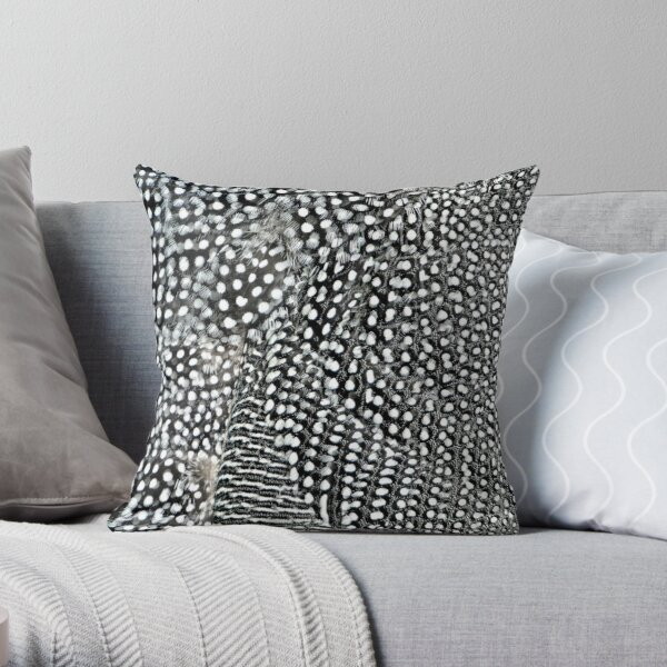 Guinea monochrome feather animal print Throw Pillow