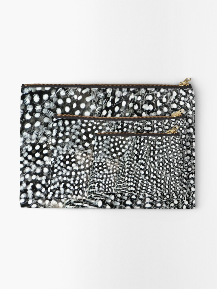 Alternate view of Guinea monochrome feather animal print Zipper Pouch