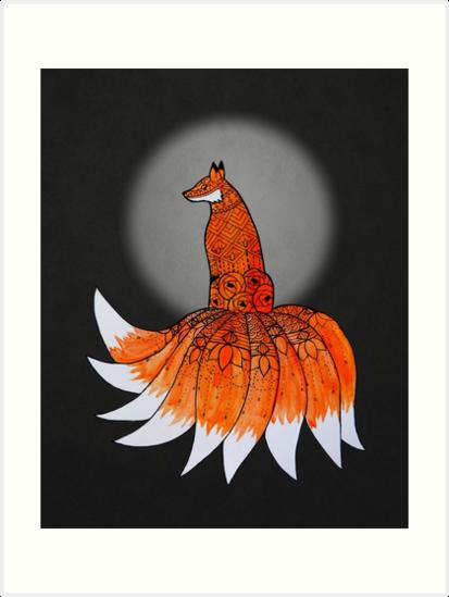 The Nine-tailed Fox Known as A Kitsune by artsyrobotz