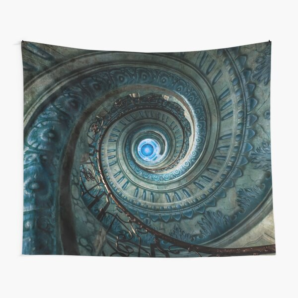 Blue spiral staircase Tapestry