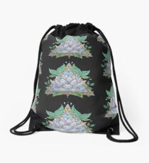 Stained Glass Lotus Illustration Drawstring Bag