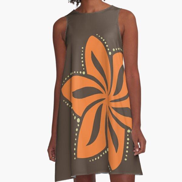 Retro Orange Tropical Hawaiian Polynesian Flower on Brown Background A-Line Dress