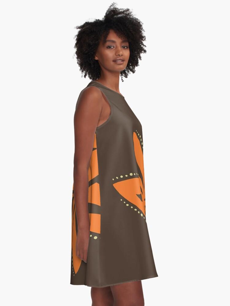 Alternate view of Retro Orange Tropical Hawaiian Polynesian Flower on Brown Background A-Line Dress