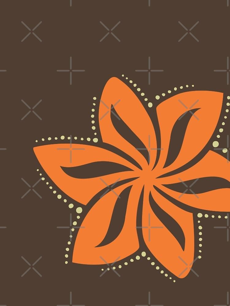 Retro Orange Tropical Hawaiian Polynesian Flower on Brown Background by AyeletF