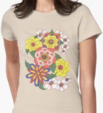 Retro Flowers Women's Fitted T-Shirt