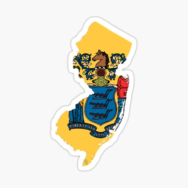 New Jersey Map With New Jersey State Flag Sticker