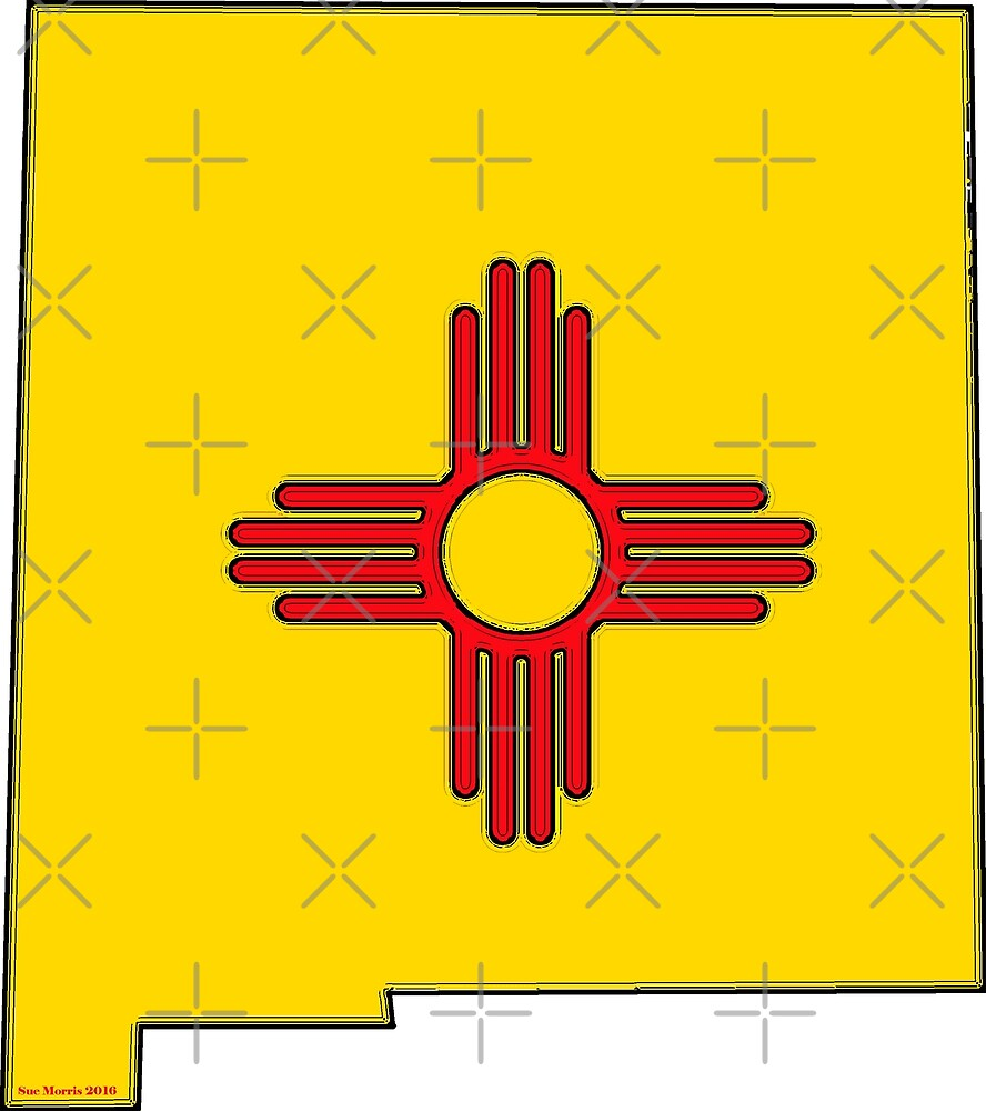 New Mexico Map with New Mexico State Flag by Havocgirl