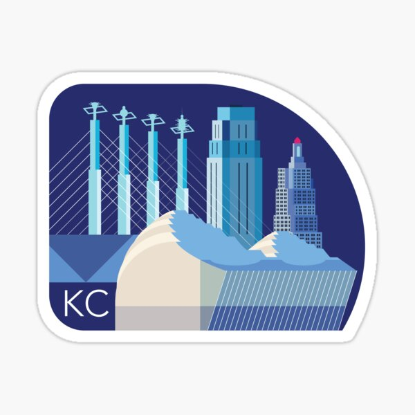 Kansas City Skyline at Night Sticker