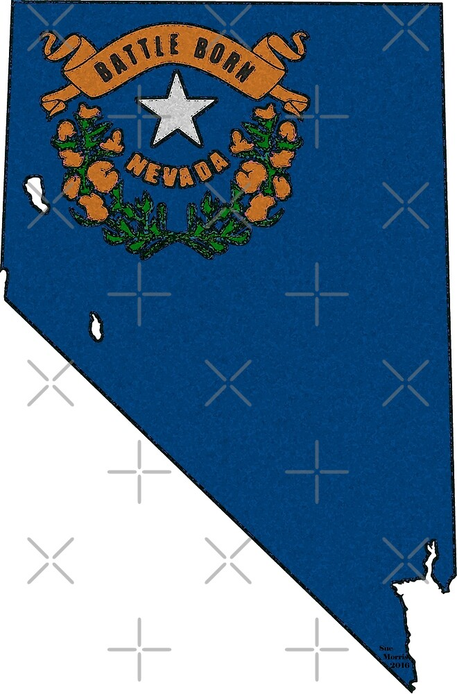 Nevada Map With Nevada State Flag by Havocgirl