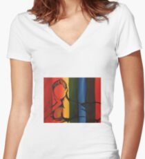 Female Figure Women's Fitted V-Neck T-Shirt