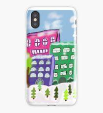 Snowy city scene iPhone Case