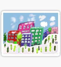 Snowy city scene Sticker