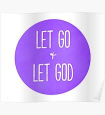 Let Go and Let God - Christian Typography Purple Version Poster