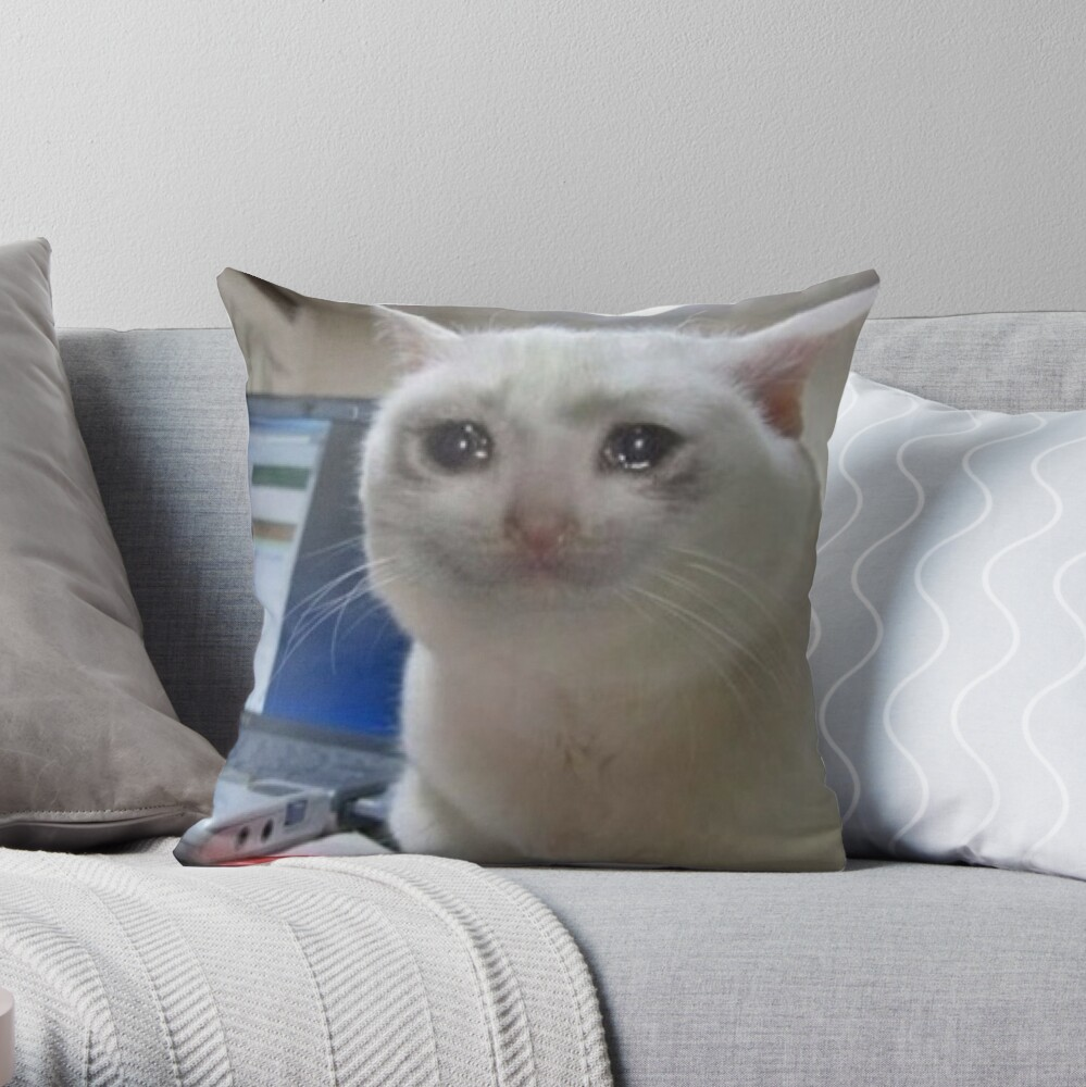 """Crying cat meme"" Throw Pillow by Carou 