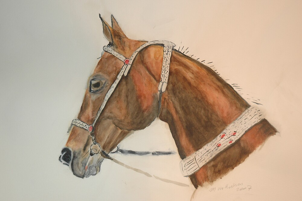 Akhal-Teke Sugun watercolour by Michèle  van Kasteren