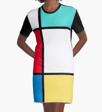 Color Block Retro  Graphic T-Shirt Dress