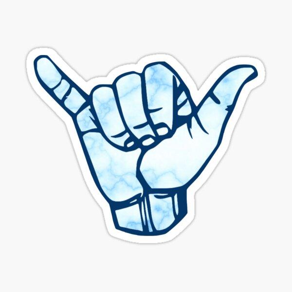 Rock on Hand Symbol Blue Marble Sticker