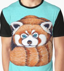 Cute Red Panda Turquoise Ink Art Graphic T-Shirt