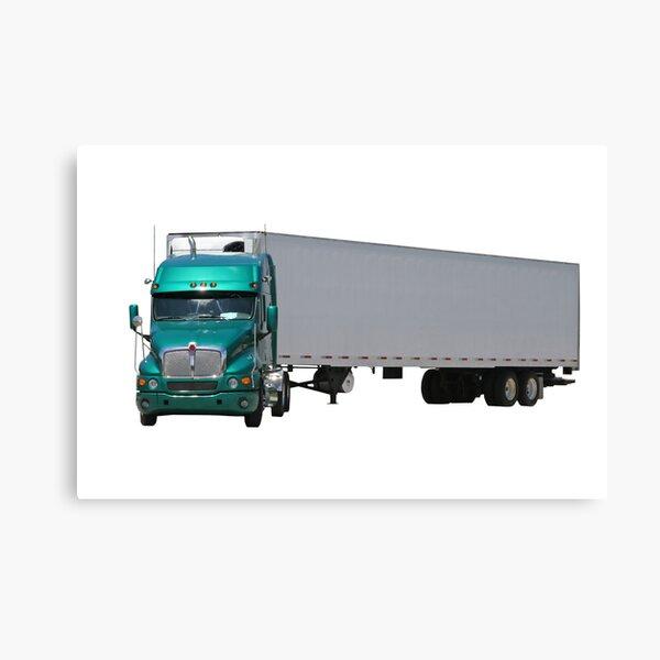 Green Semi Truck Canvas Print