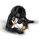 Newfie with penguin toy by Patricia Reeder Eubank