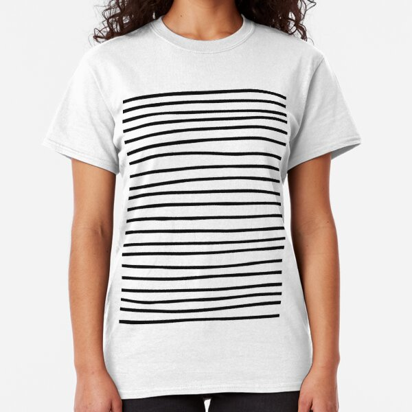 Modern simple trendy black white striped pattern Classic T-Shirt