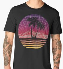 Modern Retro 80s Outrun Sunset Palm Tree Silhouette Original Men's Premium T-Shirt