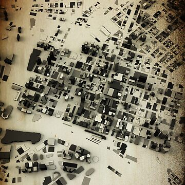 Melbourne Streets and Buildings Map Antic Vintage Design by FRTcreative