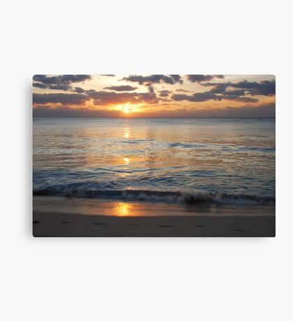 footprints in the sand Canvas Print