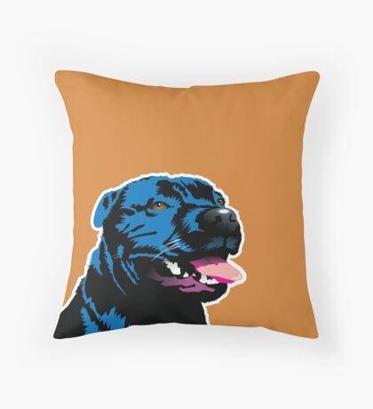 Blue Staff Staffy Throw Pillow