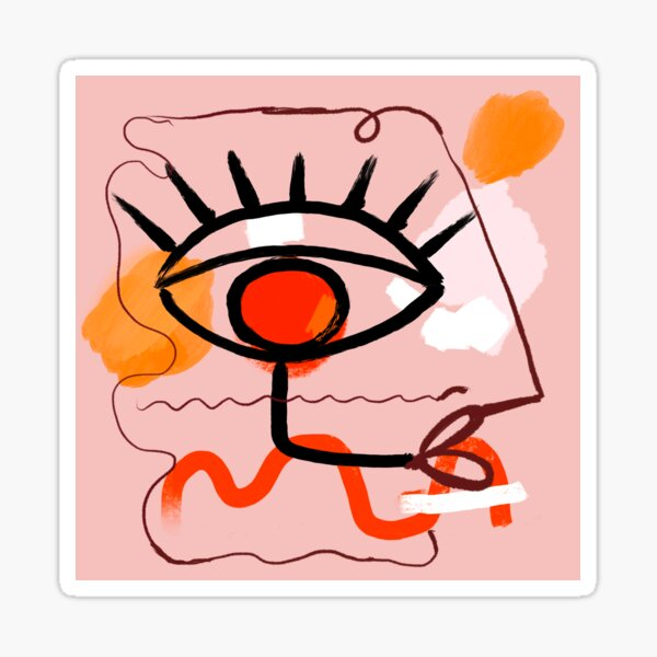 Picasso Inspired Woman on pink Sticker