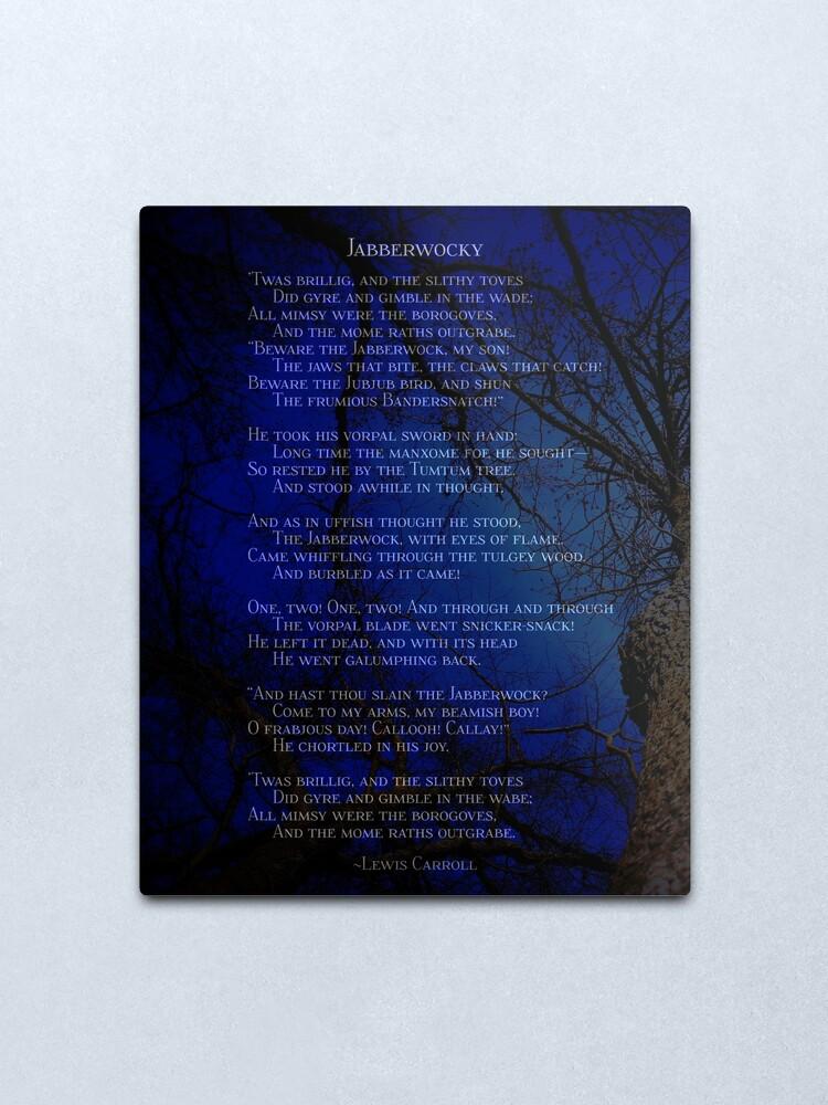 Jabberwocky Lewis Carroll Poem Dark Forest Metal Print