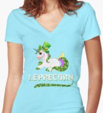 Funny Leprecorn T-Shirt, St Patricks Day Leprechaun Unicorn Gift Women's Fitted V-Neck T-Shirt