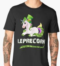 Funny Leprecorn T-Shirt, St Patricks Day Leprechaun Unicorn Gift Men's Premium T-Shirt