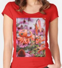 Mackinac Island Tiger Lilies and Echinacea Women's Fitted Scoop T-Shirt