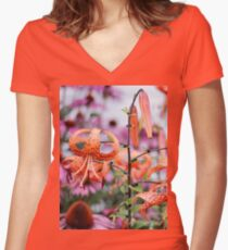 Mackinac Island Tiger Lilies and Echinacea Women's Fitted V-Neck T-Shirt