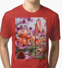Mackinac Island Tiger Lilies and Echinacea Tri-blend T-Shirt