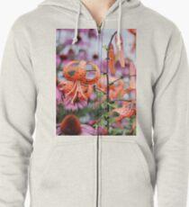 Mackinac Island Tiger Lilies and Echinacea Zipped Hoodie