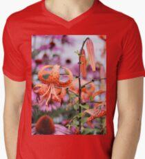 Mackinac Island Tiger Lilies and Echinacea Men's V-Neck T-Shirt