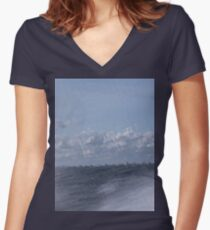 Abstract of Mackinac Island Ferry Ride Women's Fitted V-Neck T-Shirt