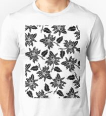 Black white modern vector poinsettia floral pattern Unisex T-Shirt