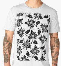 Black white modern vector poinsettia floral pattern Men's Premium T-Shirt